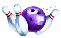 Watercolor Bowling Ball With Pins Sticker