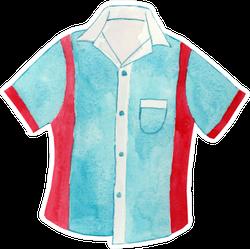 Watercolor Bowling Shirt Illustration Sticker