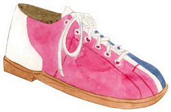Watercolor Bowling Shoe Illustration Sticker