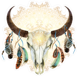 Watercolor Buffalo Skull With Feathers Boho Sticker
