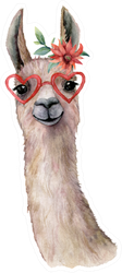 Watercolor Card With Llama Wearing Sunglasses Sticker