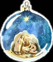Watercolor Christian Christmas Ornament Sticker