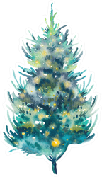 Watercolor Christmas Tree Hand Drawn Holiday Sticker