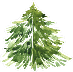 Watercolor Christmas Tree Sticker
