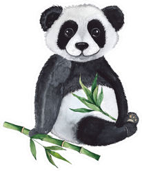 Watercolor Compositions With Pandas Sticker
