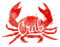 Watercolor Crab With Lettering On Crumpled Paper Sticker