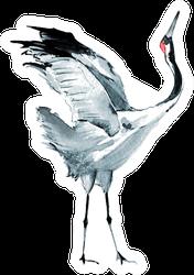Watercolor Crane Sticker