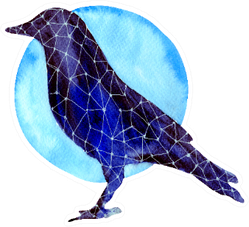 Watercolor Crow Silhouette And Blue Moon Hand Drawn Sticker