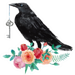 Watercolor Crow With Vintage Key Sitting On Garden Roses Sticker