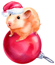 Watercolor Cute Hamster With Christmas Ball Sticker