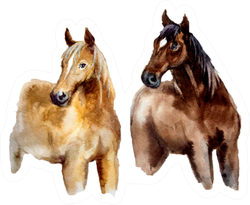 Watercolor Cute Horse On The White Background Sticker