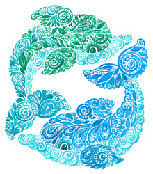 Watercolor Dolphins Doodle Illustration Sticker