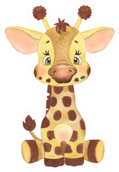 Watercolor Drawing Of A Cute Baby Giraffe Sticker