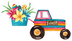 Watercolor Easter Tractor Illustration Sticker