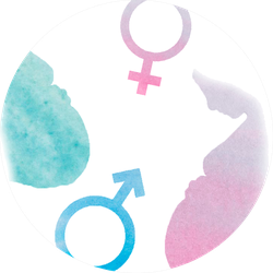 Watercolor Elements With Pink And Blue pregnant Silhouette Sticker