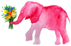 Watercolor Elephant With Flowers Sticker