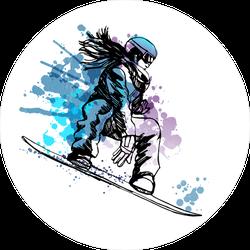 Watercolor Female Snowboarder Sticker