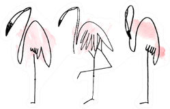 Watercolor Flamingos Hand Drawn Illustration Sticker