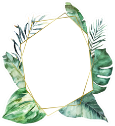 Watercolor Floral Geometric Leaves Sticker