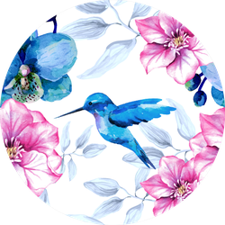 Watercolor Floral Pattern With Orchid Flowers And Hummingbird Sticker