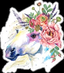 Watercolor Flower Bouquet Horse Illustration Sticker