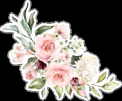 Watercolor Flowers Rose Arrangement Sticker