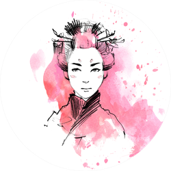 Watercolor Geisha Portrait Sticker