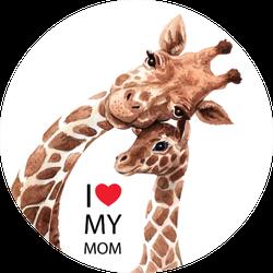 Watercolor Giraffe Illustration I Heart My Mom Sticker