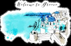 Watercolor Greek View Sticker