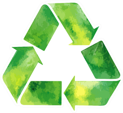 Watercolor Green Recycle Sign Sticker