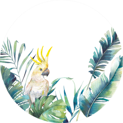 Watercolor Greenery And Big Yellow Cockatoo Frame Sticker