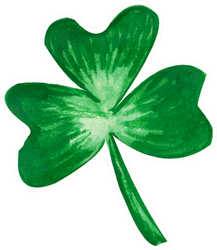 Watercolor Hand Drawn Illustration Green Clover Sticker