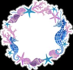 Watercolor Hand Drawn Sea Wreath In Purple Sticker
