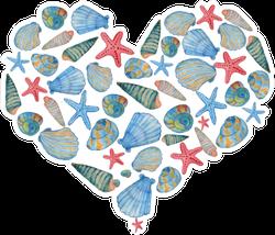 Watercolor Hand Drawn Seashell And Star Fish Sticker