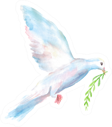 Watercolor Hand Drawn Sketch Of White Dove With A Green Twig Sticker