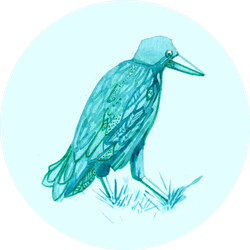 Watercolor Hand Drawn Turquoise Crow Sticker