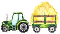 Watercolor Hand Painted Autumn Harvest Tractor Sticker
