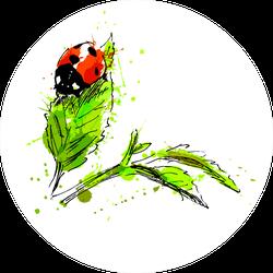 Watercolor Hand Sketch Ladybug Sticker