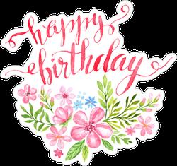 Watercolor Happy Birthday Flower Sticker