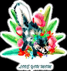 Watercolor Happy Mother's Day Skunk Sticker