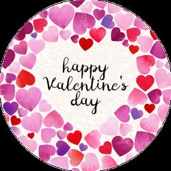 Watercolor Happy Valentine's Day Colorful Hearts Sticker