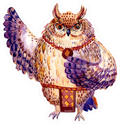 Watercolor Hawaii Dance Owl Sticker