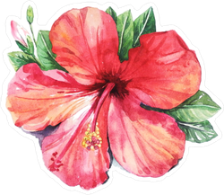 Watercolor Hibiscus Flower Sticker