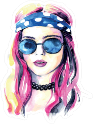 Watercolor Hippie Girl Sticker