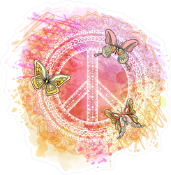 Watercolor Hippie Peace Symbol Sticker