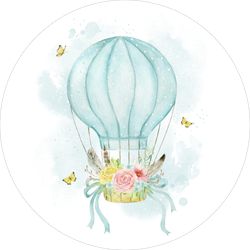 Watercolor Illustration Blue Hot Air Balloon Sticker