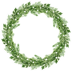 Watercolor Illustration. Christmas Fir Tree Wreath Sticker