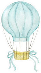 Watercolor Illustration Hot Air Balloon In Pastel Sticker