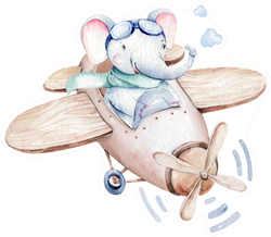 Watercolor Illustration Of A Cute Airplane Sticker