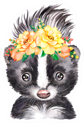 Watercolor Illustration Of A Little Skunk With A Floral Wreath Sticker